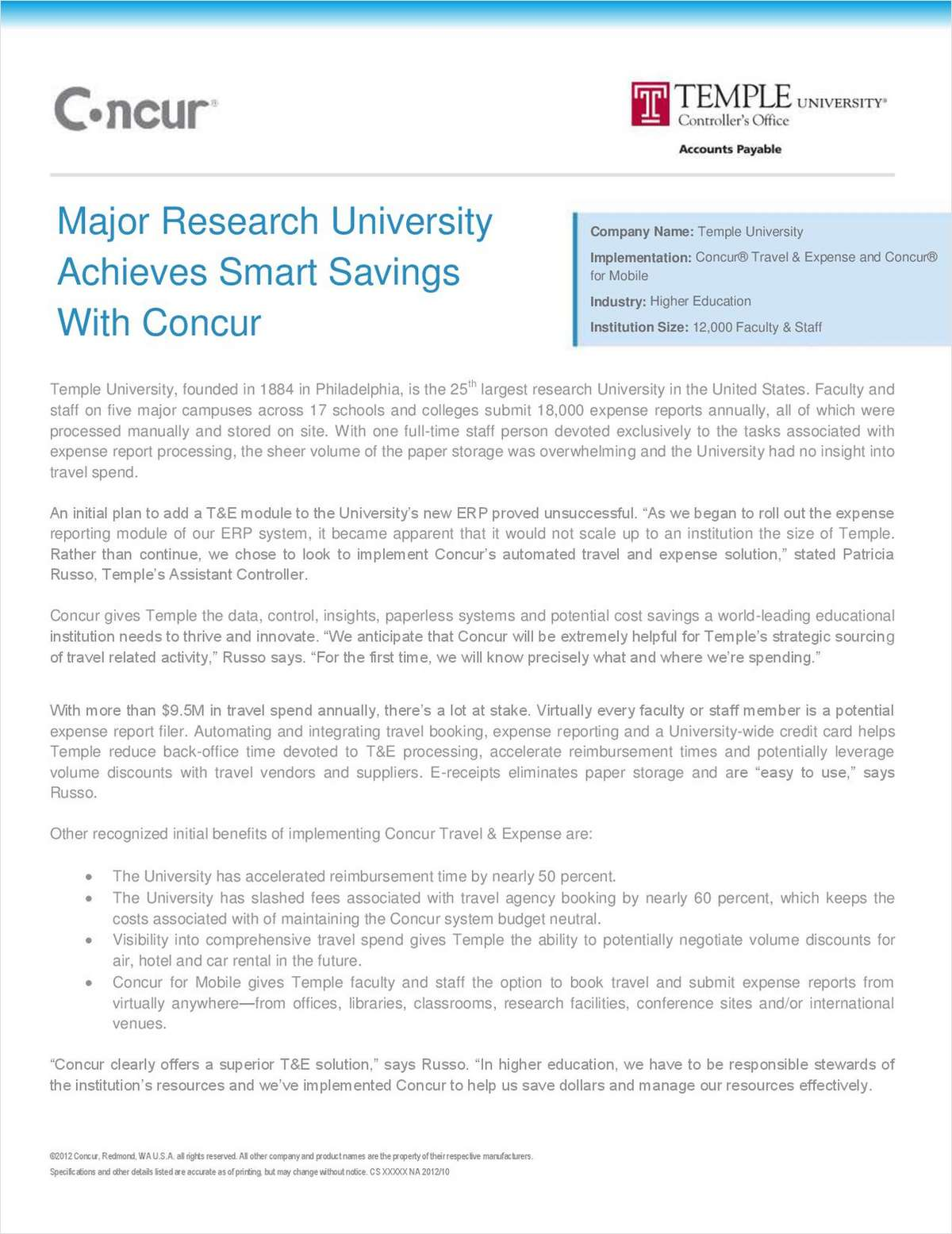 Major Research University Achieves Cost Savings with Travel and Expense Management Automation
