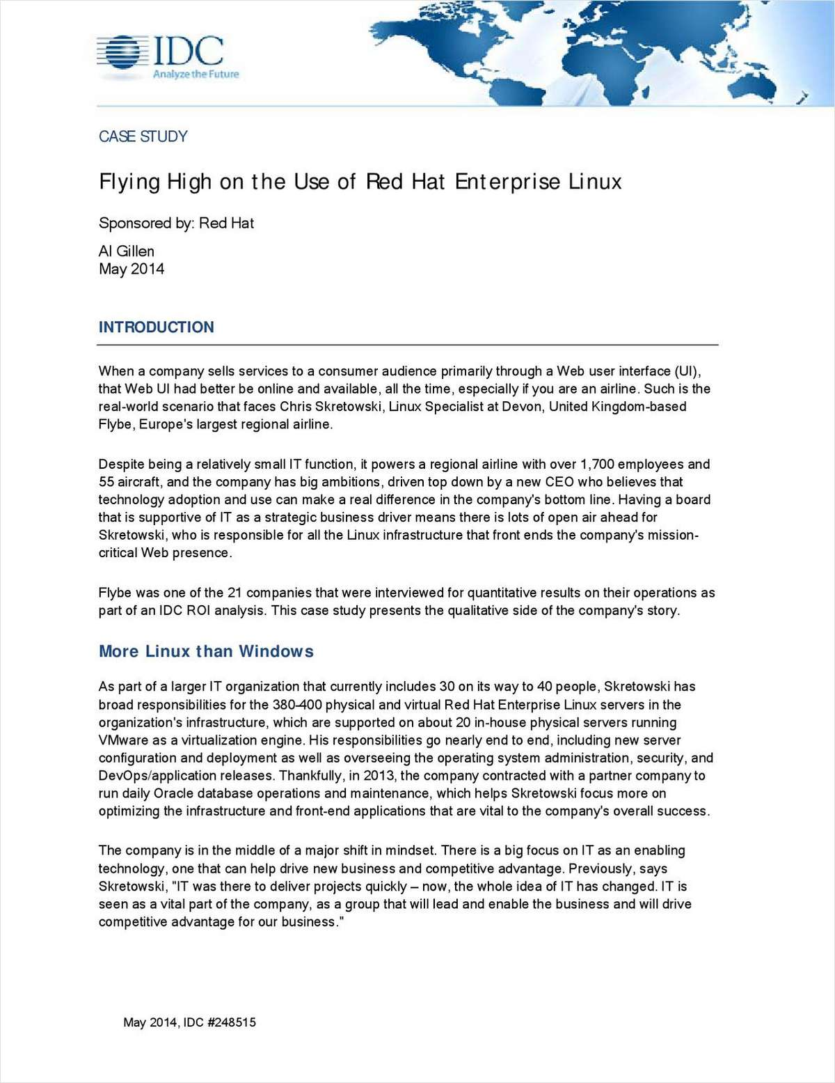 Flying High on the Use of Red Hat Enterprise Linux