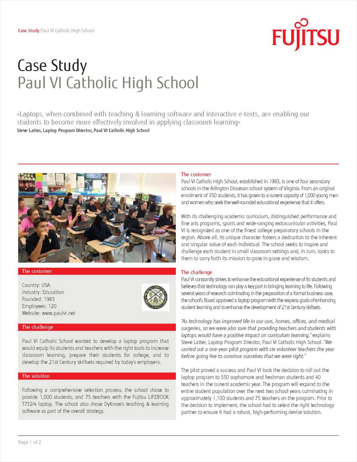 Explore How Paul VI Catholic High School Benefited From Fujitsu's Devices and Software