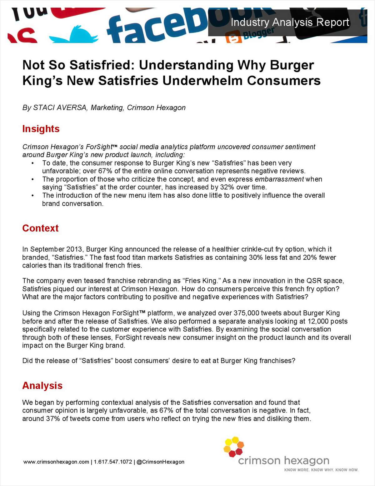 Not So Satisfried: Understanding Why Burger King's New Satisfries Underwhelm Consumers