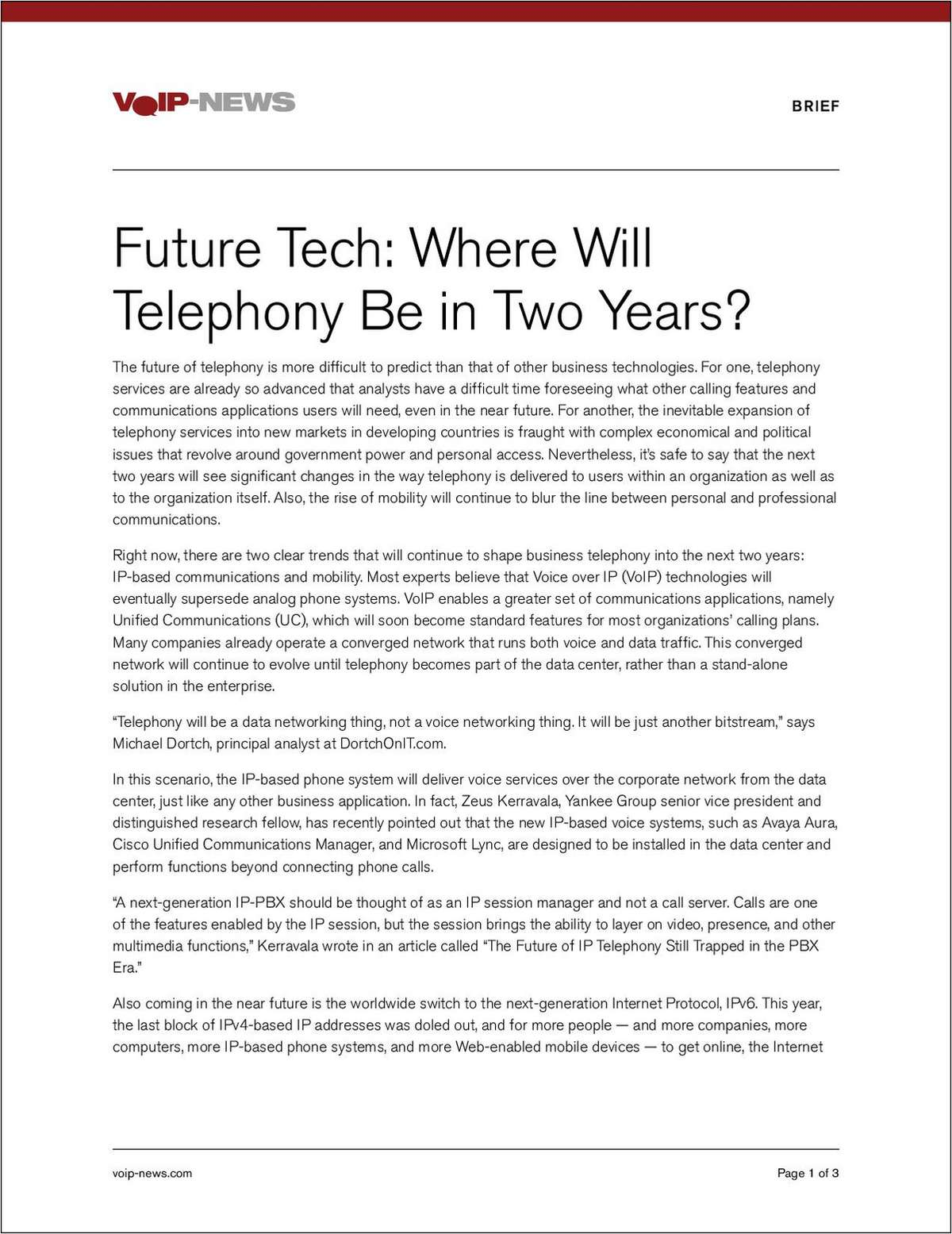 2011 Where Will Telephony Be in Two Years
