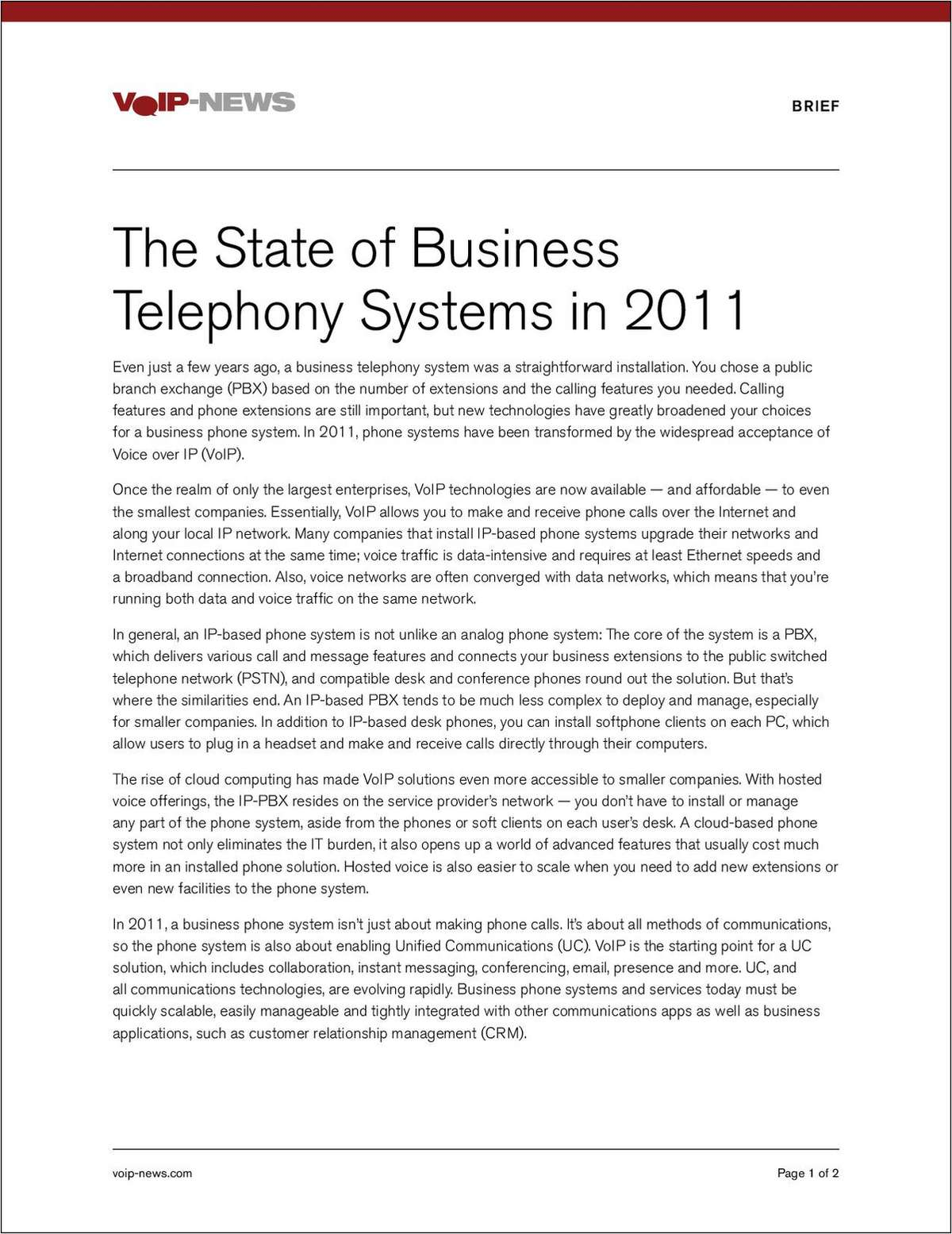 The State of Business Telephony Systems in 2011
