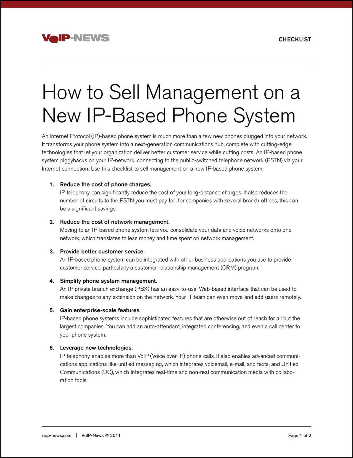 VoIP-News: Sell Management on a New IP-Based Phone System