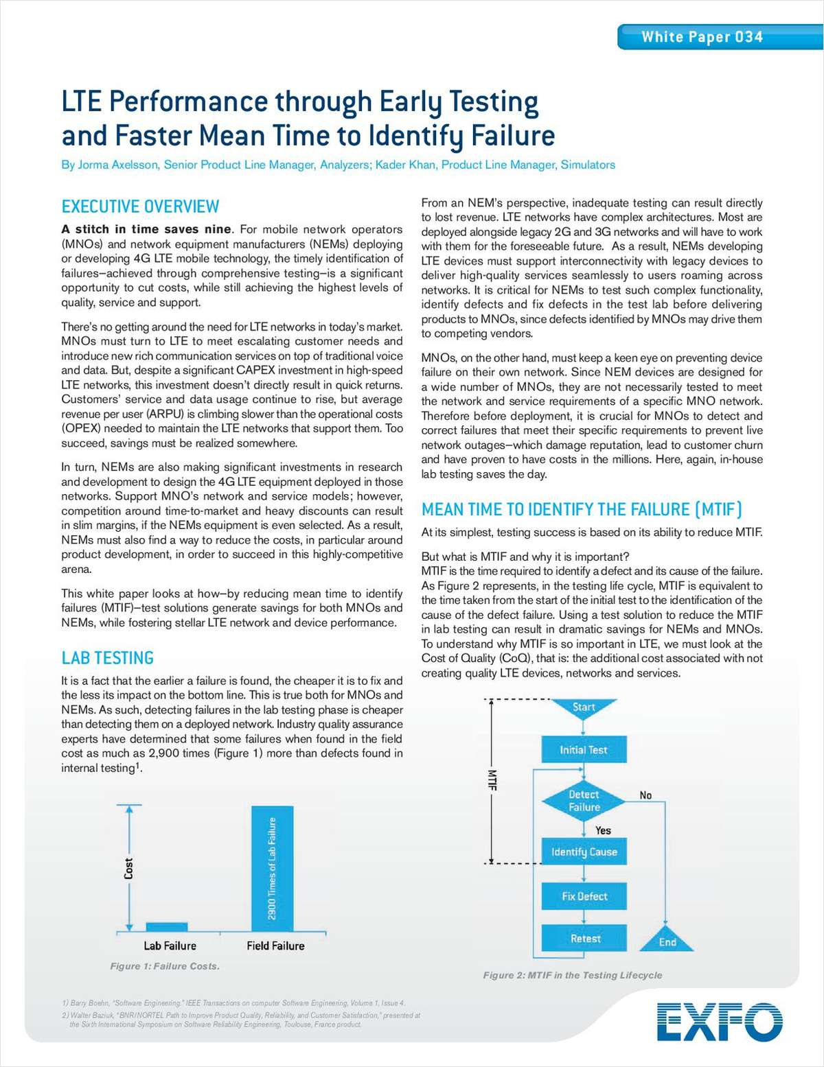 LTE Performance through Early Testing and Faster Mean Time to Identify Failure