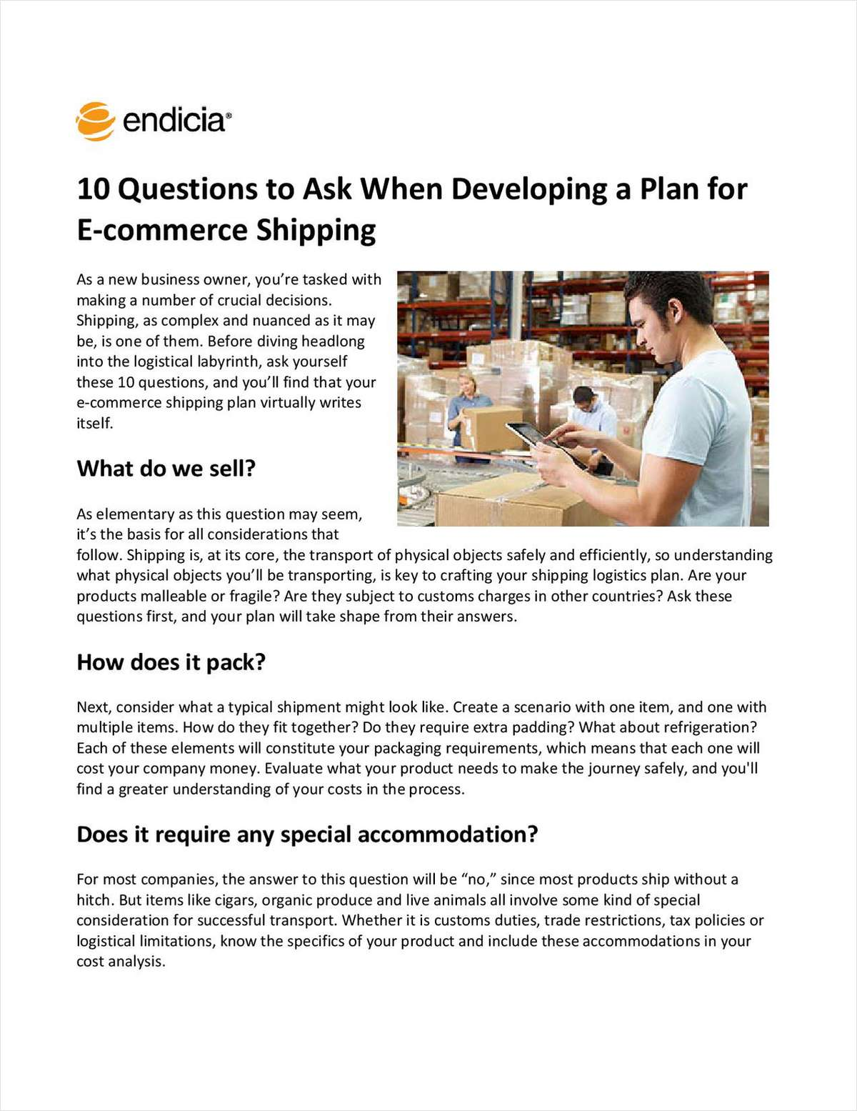 10 Questions to Ask When Developing a Plan for E-commerce Shipping