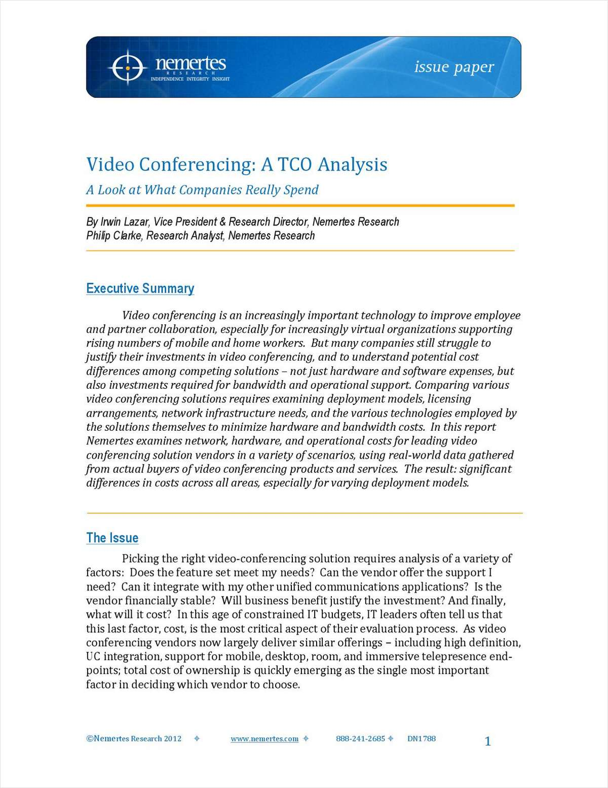 Video Conferencing, A TCO Analysis: A Look at What Companies Really Spend