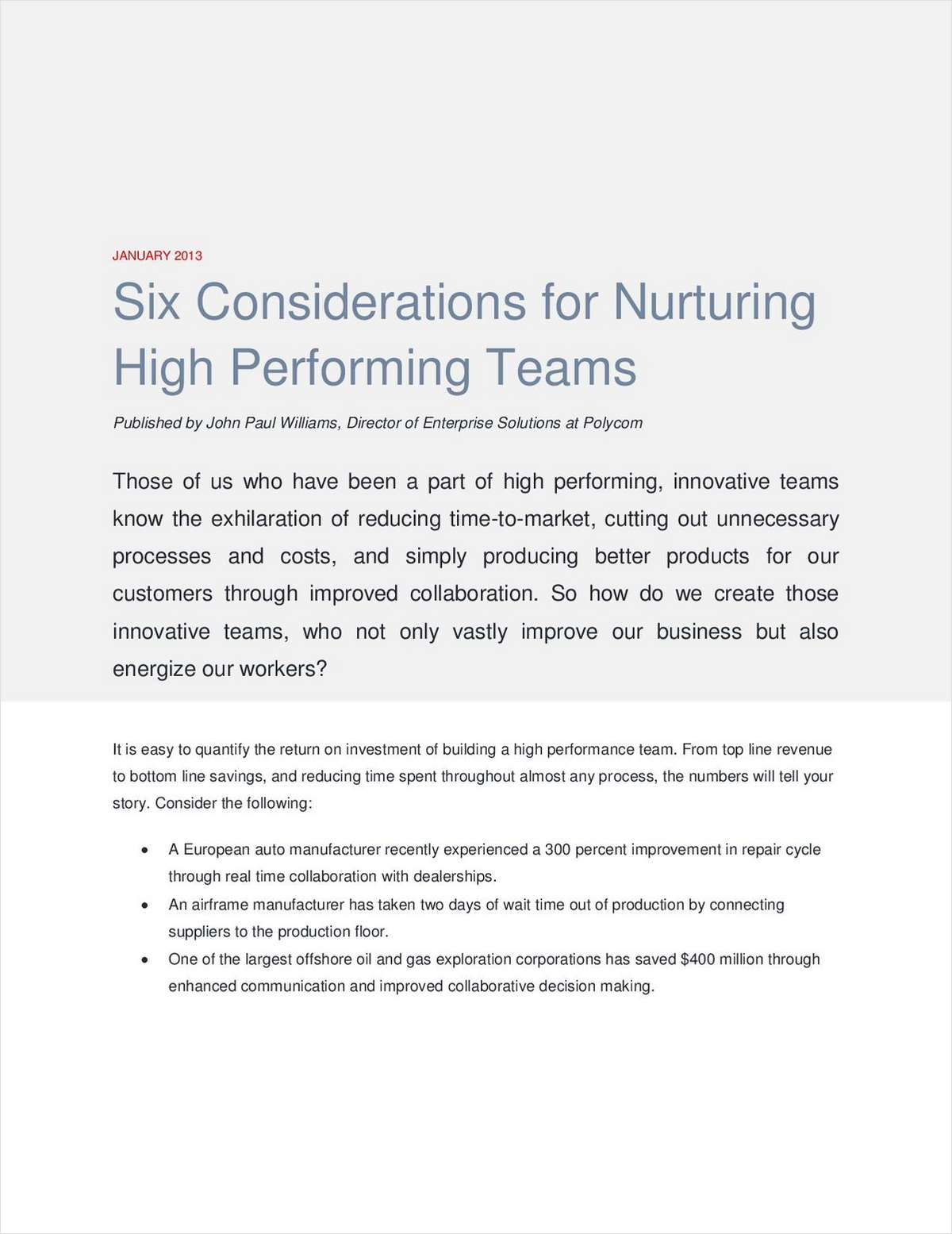 Six Best Practices for Nurturing High Performing Teams