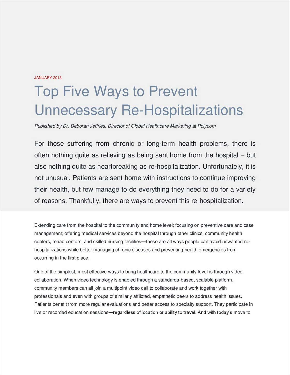 Top Five Ways to Prevent Unnecessary Re-Hospitalizations