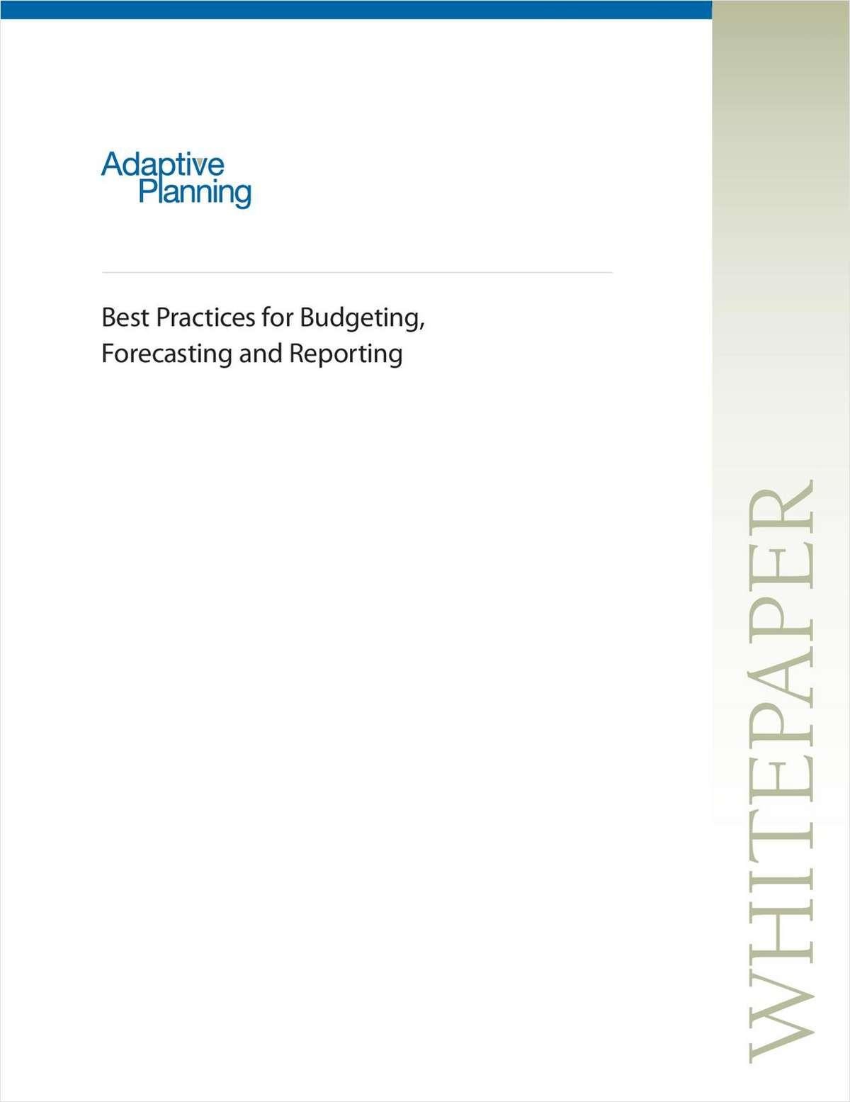 Best Practices for Budgeting, Forecasting and Reporting
