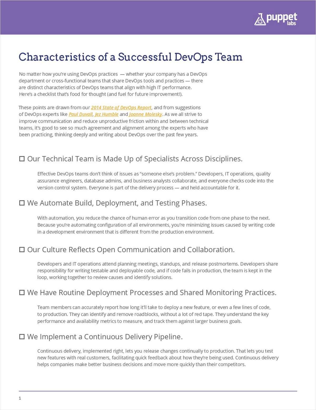 Characteristics of a Successful DevOps Team