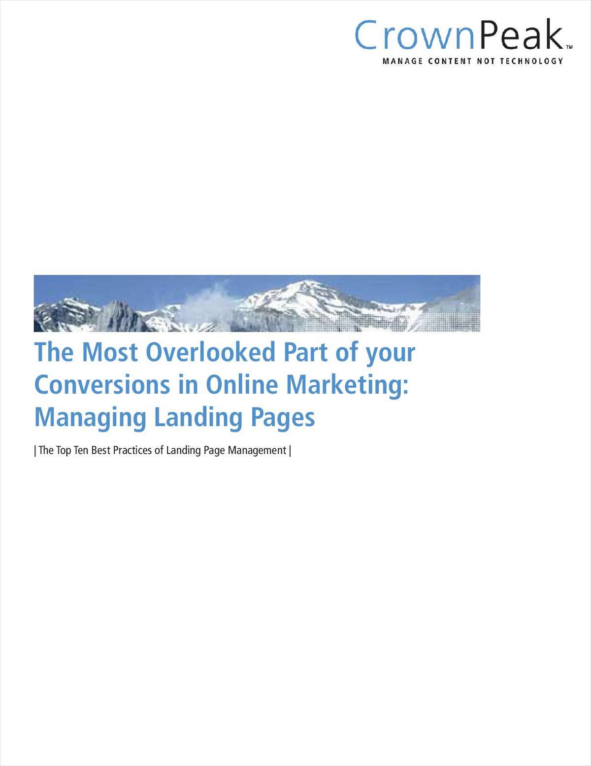 The Most Overlooked Part of your Conversions in Online Marketing: Managing Landing Pages