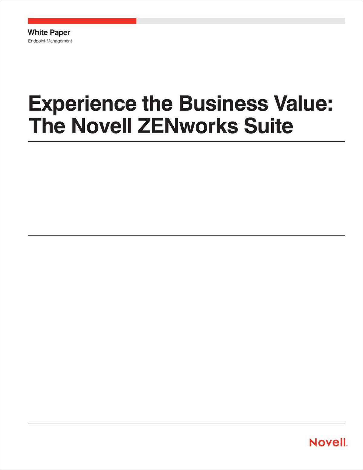 Experience the Business Value: The Novell ZENworks Endpoint Management Suite