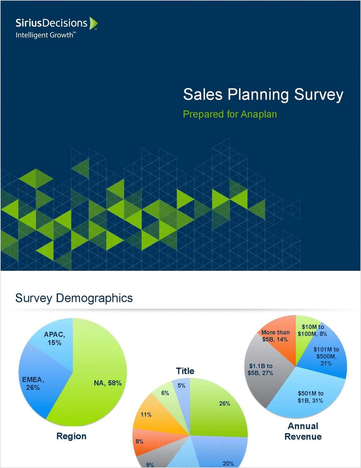 SiriusDecisions Reveals Sales Planning Missteps that Decrease
