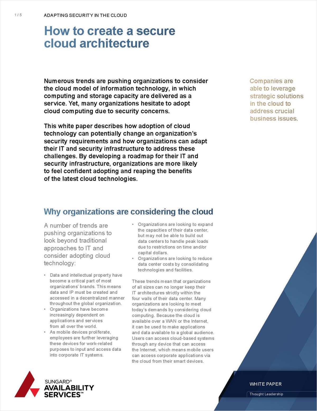 Adapting Security to the Cloud