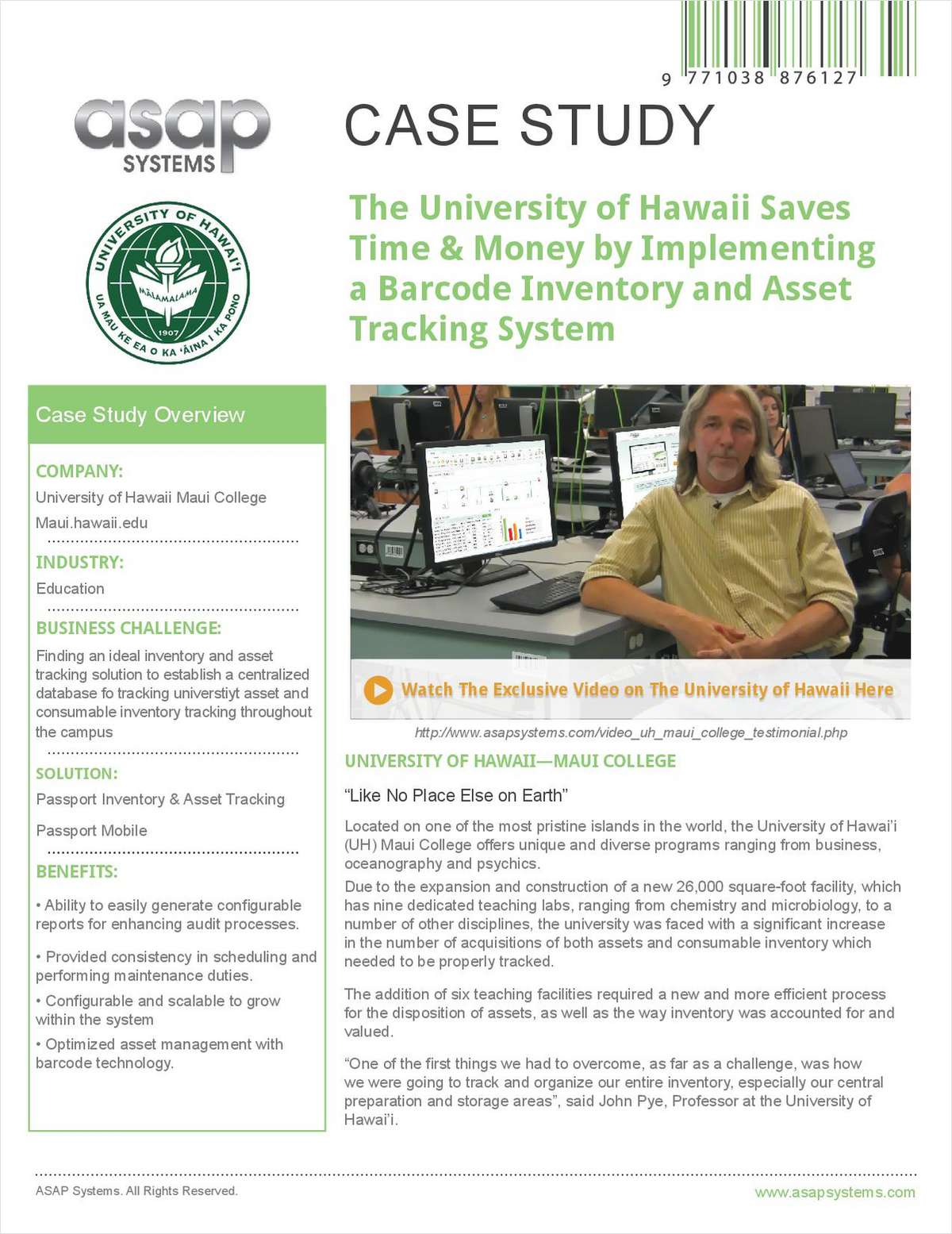 Inventory & Asset Tracking System Case Study: University of Hawaii Saves Time and Money