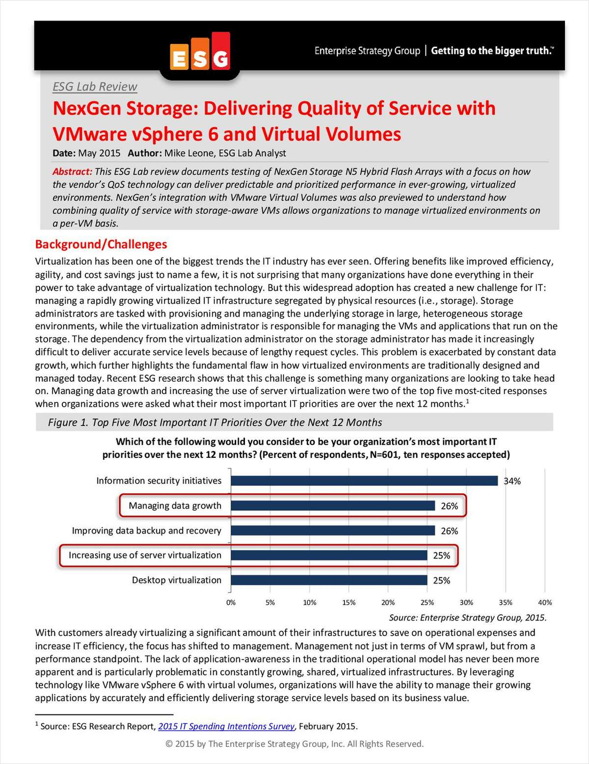 ESG Lab Report: Delivering QoS with VMware Virtual Volumes