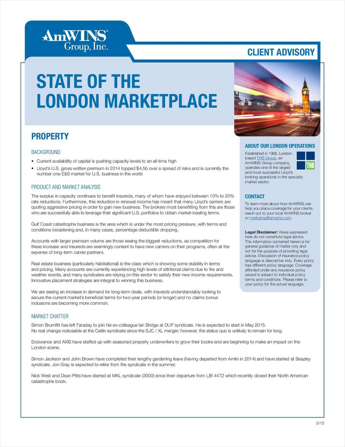 Client Advisory: The State of The London Marketplace