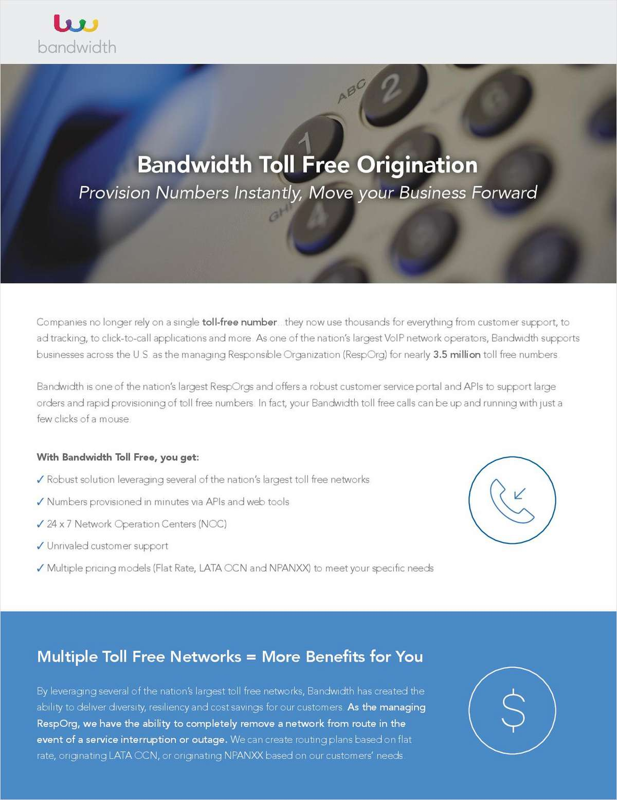 Bandwidth Toll Free Origination