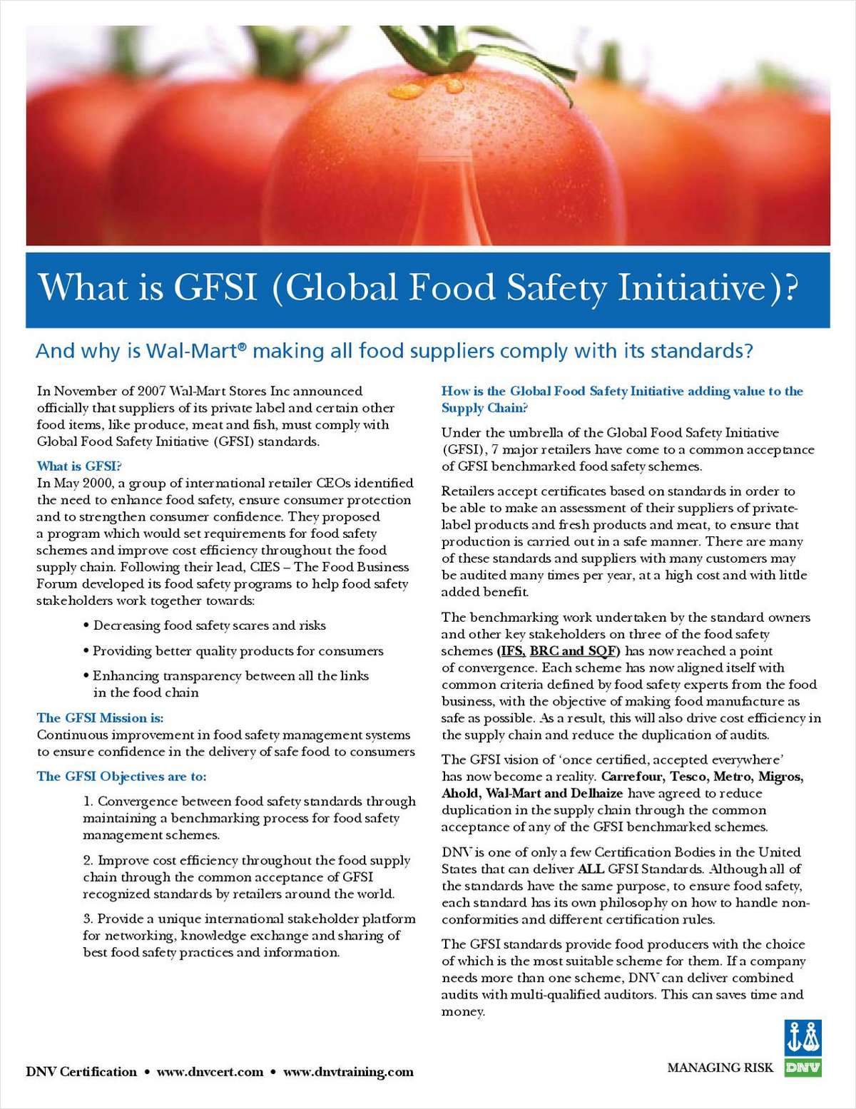 What Is GFSI And Why Are Major U.S. Retailers Making Food Suppliers Comply With It's Standards?
