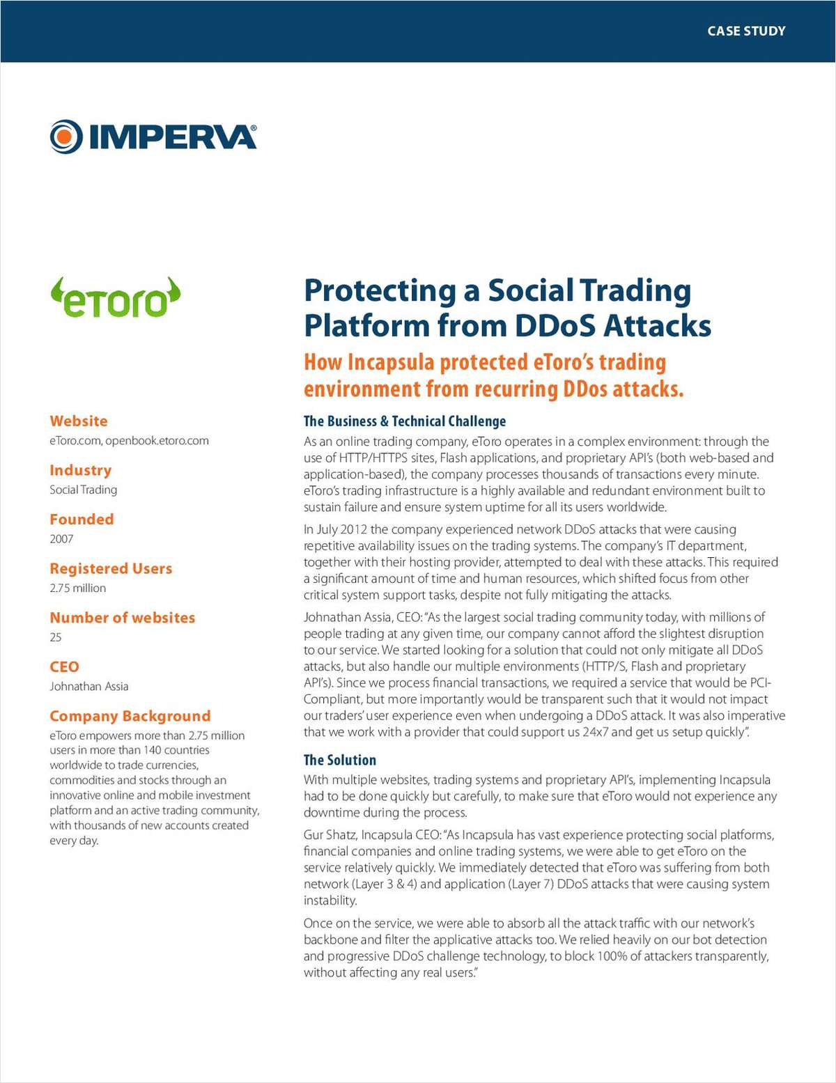 eToro Maximizes Availability of Its Online Trading Operations with Incapsula