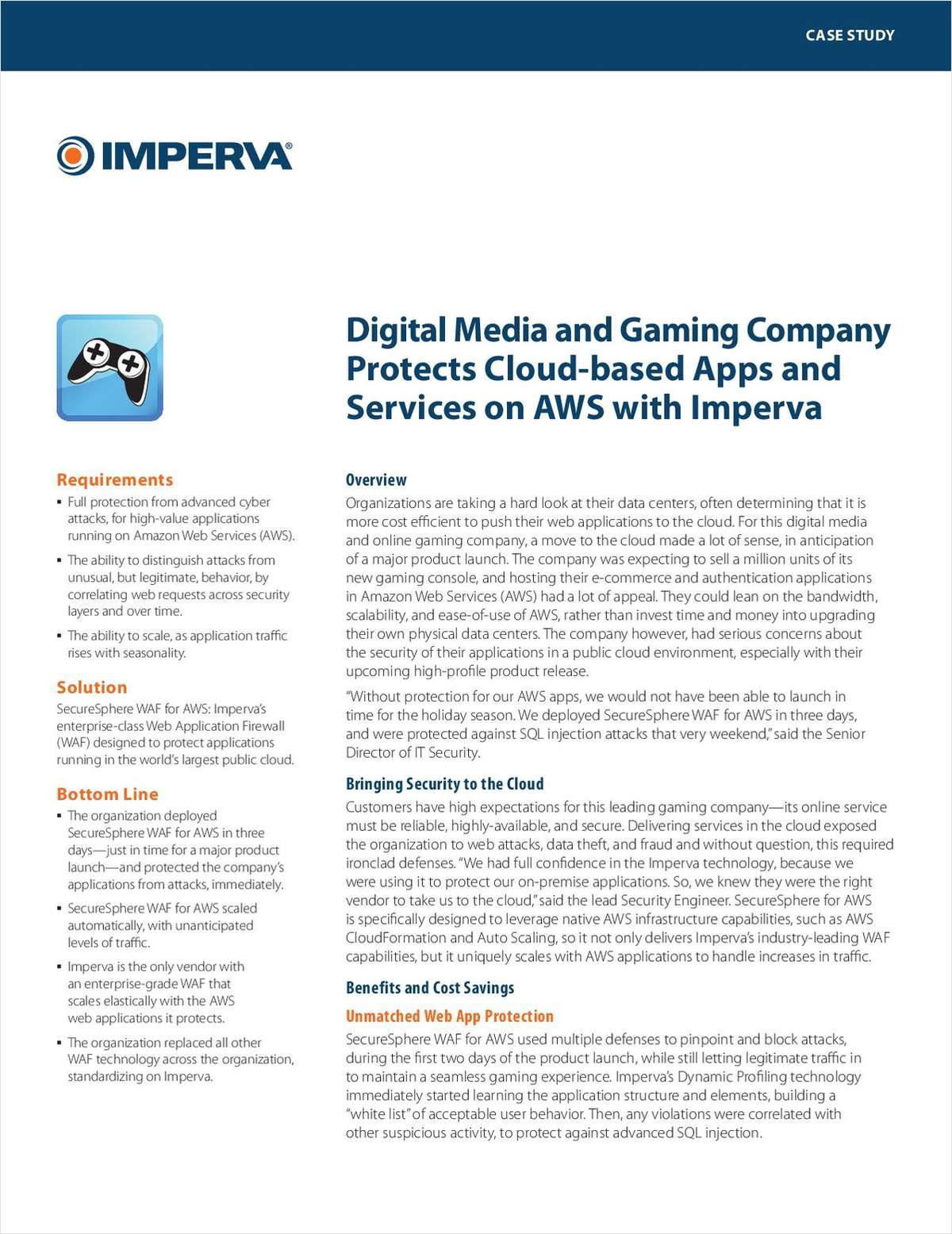 Digital Media and Gaming Company Protects Cloud-based Apps and Services on AWS