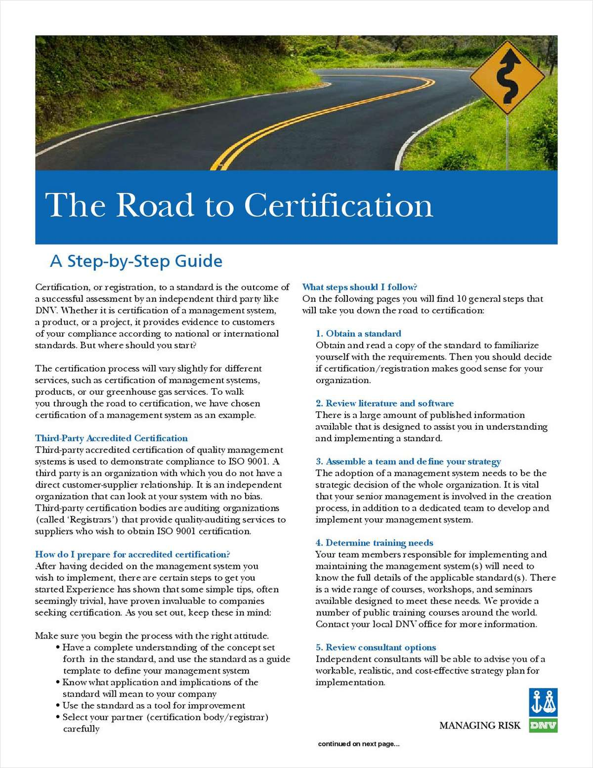 Road to Management System Certification