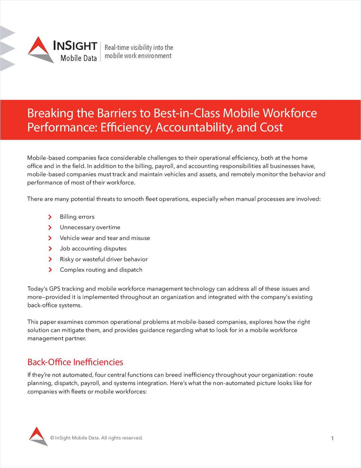 Breaking the Barriers to Best-in-Class Mobile Workforce Performance: Efficiency, Accountability and Cost