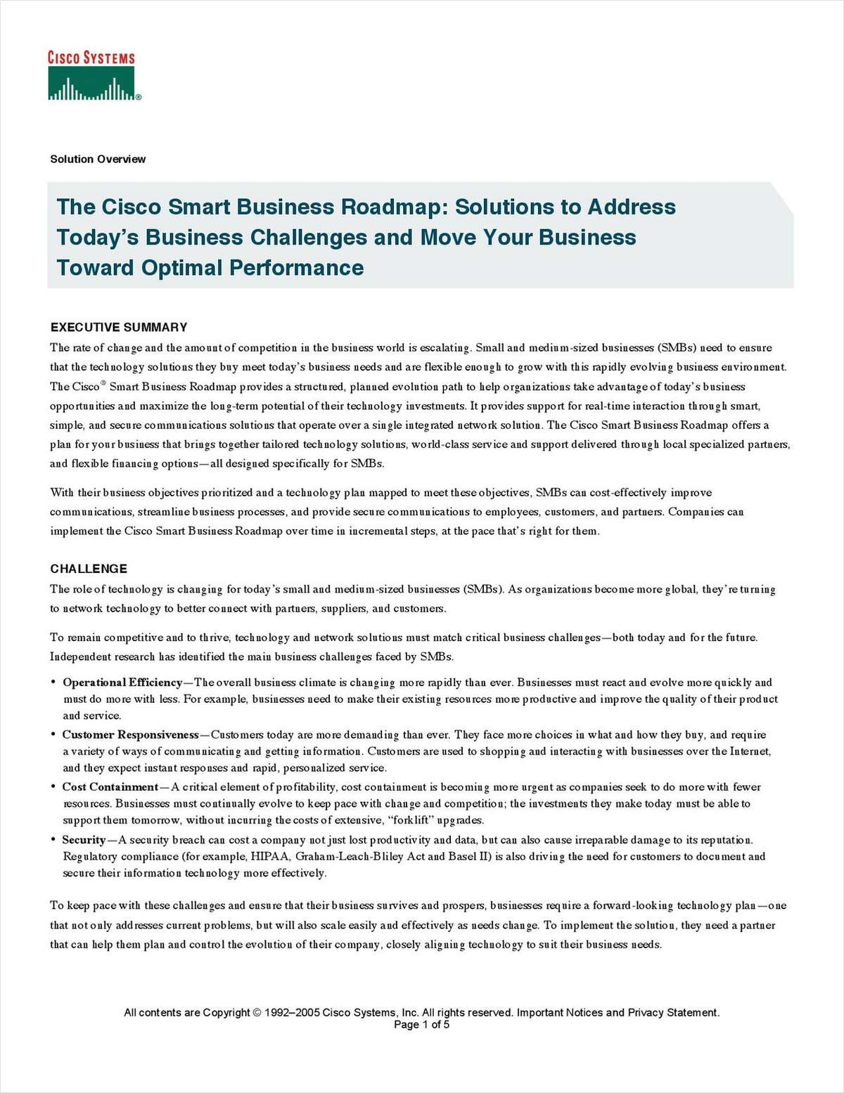 The Cisco Smart Business Roadmap: Solutions to Address Today's Business Challenges and Move Your Business Toward Optimal Performance