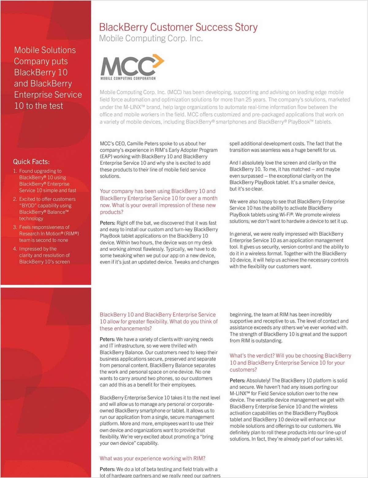 Enterprise Feedback: Why Mobile Computing Corp. Inc. Chose BlackBerry 10