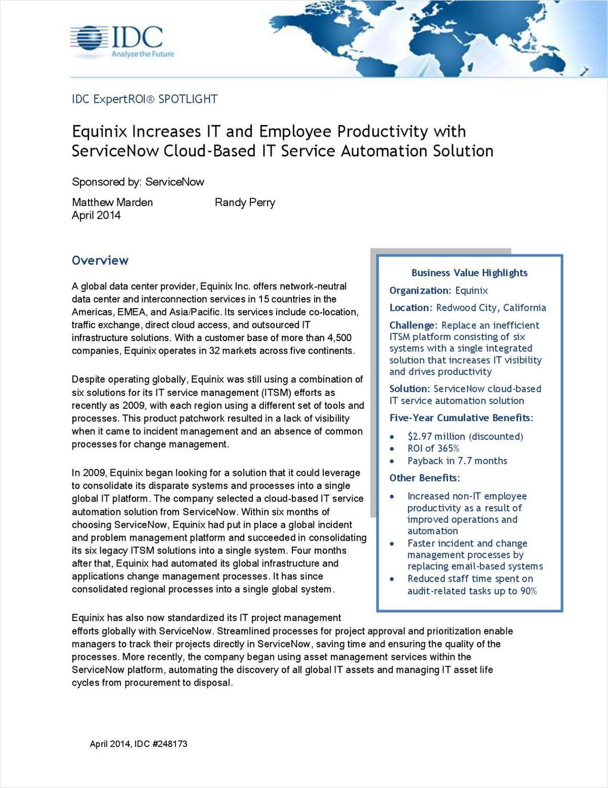 Equinix Increases IT and Employee Productivity with ServiceNow Cloud-Based IT Service Automation Solution
