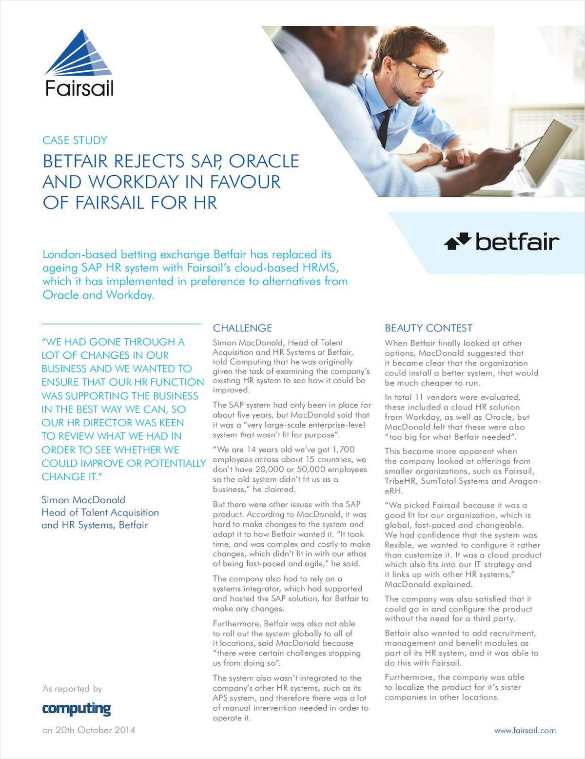 Betfair Rejects SAP, Oracle and Workday in Favour of Fairsail for HR