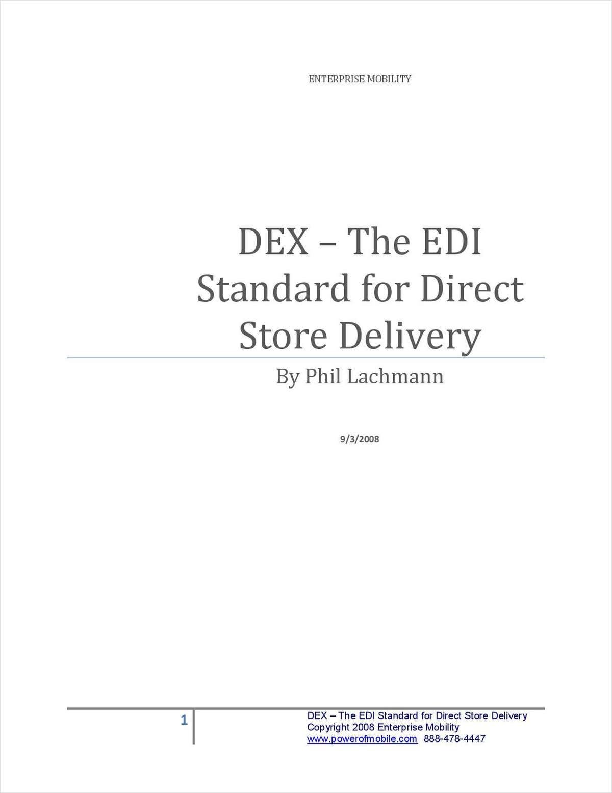DEX – The EDI Standard for Direct Store Delivery