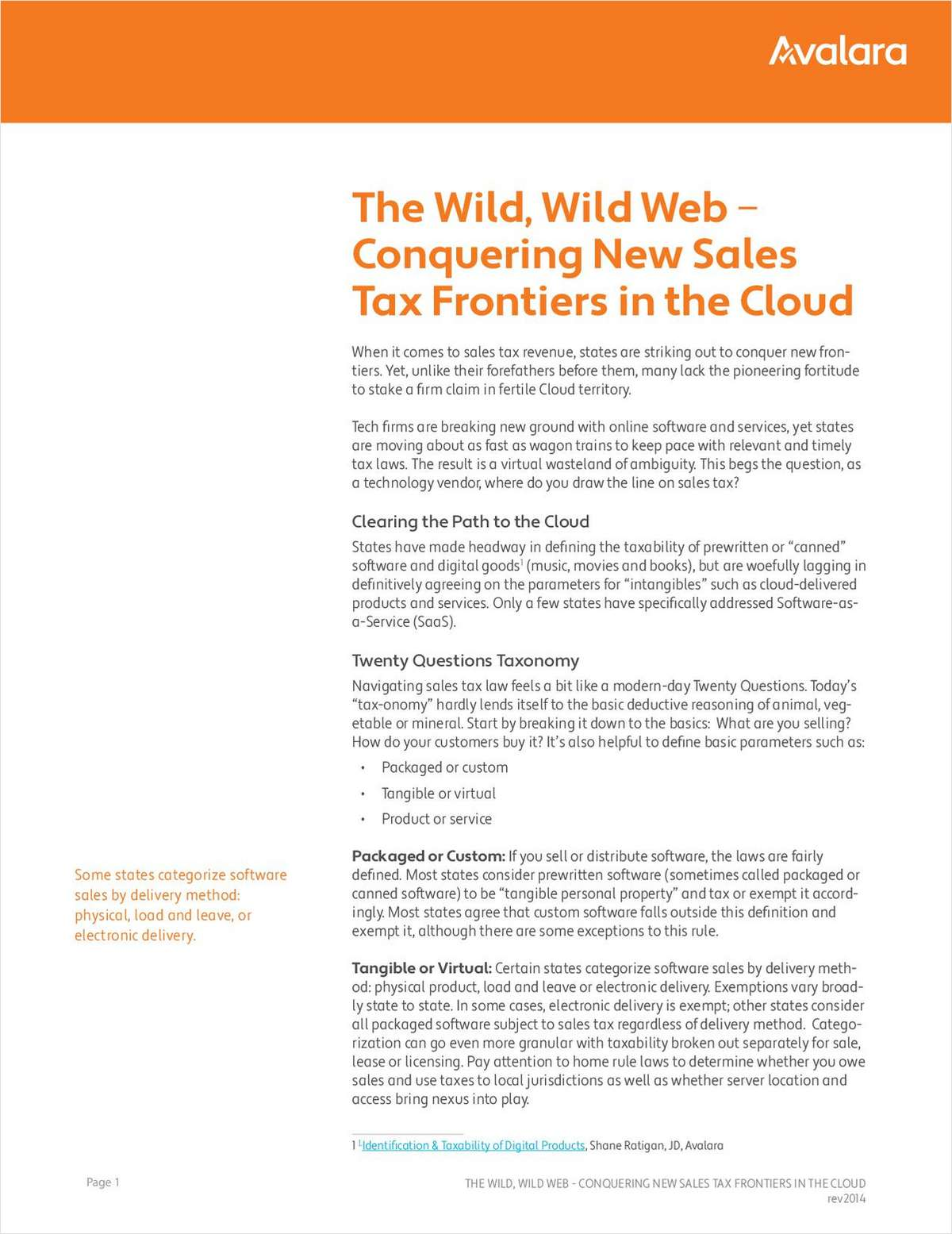 Cloud Commerce and Sales Tax Compliance: Conquering New Frontiers in the Cloud