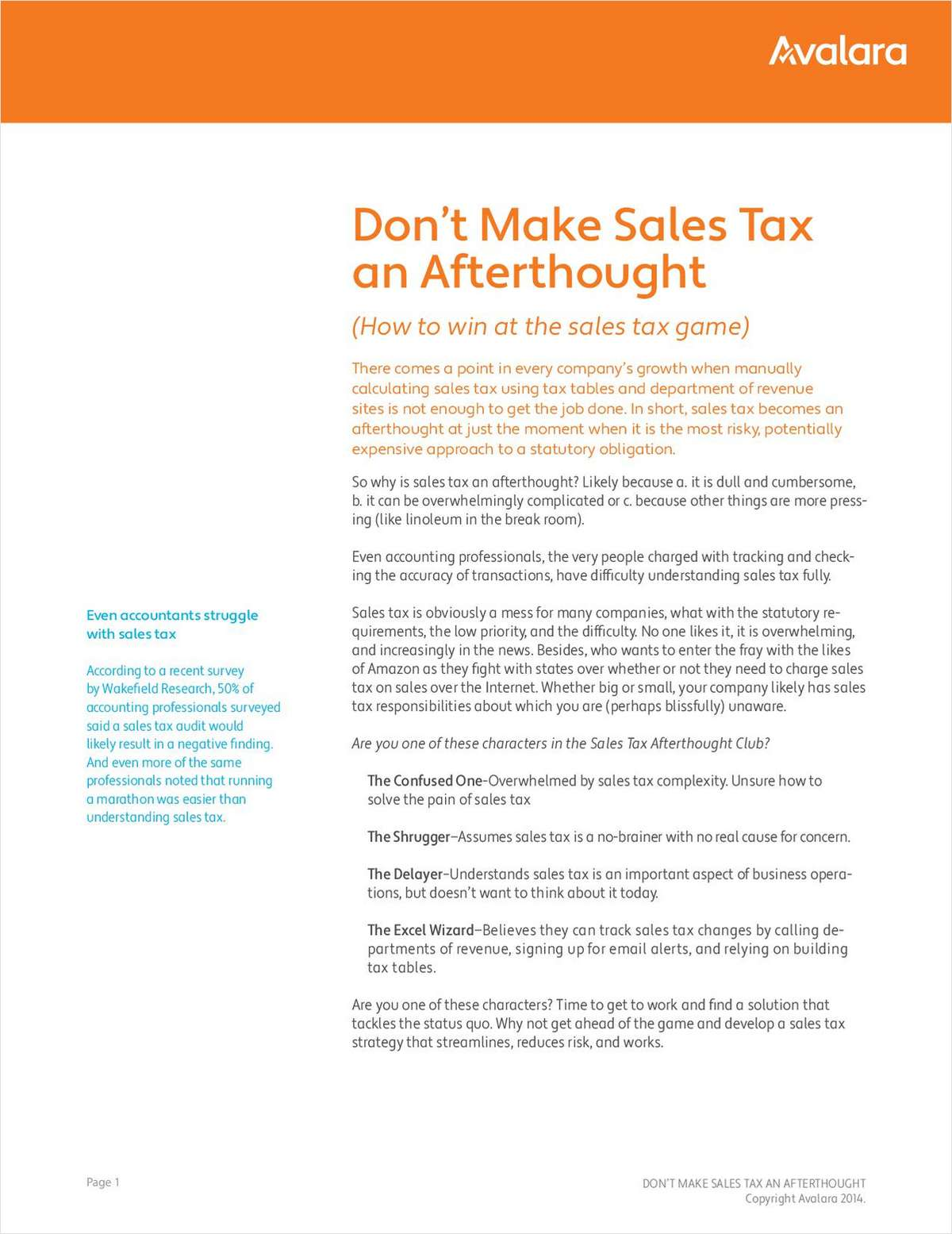 Don't Make Sales Tax an Afterthought