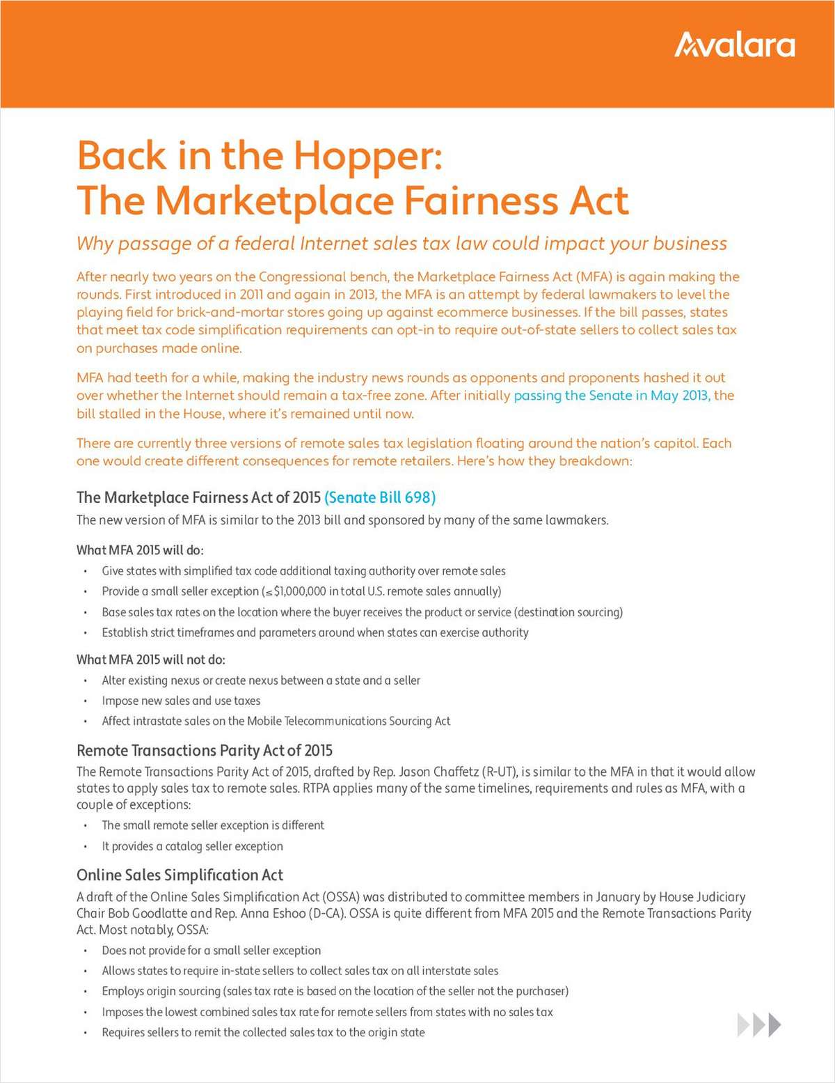 Back in the Hopper: The Marketplace Fairness Act