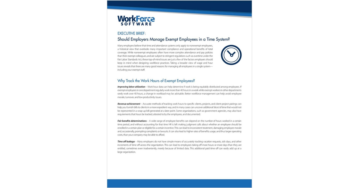 How To Manage Exempt Employees A White Paper For Employers Free