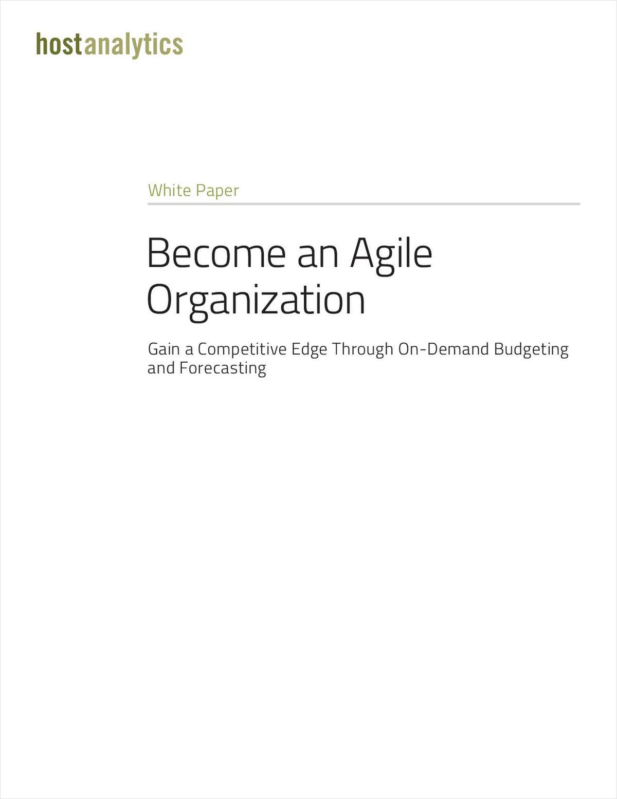 Become an Agile Organization, Starting with the Finance Department