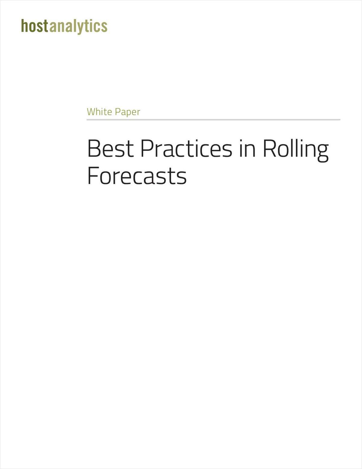 Best Practices in Rolling Forecasts