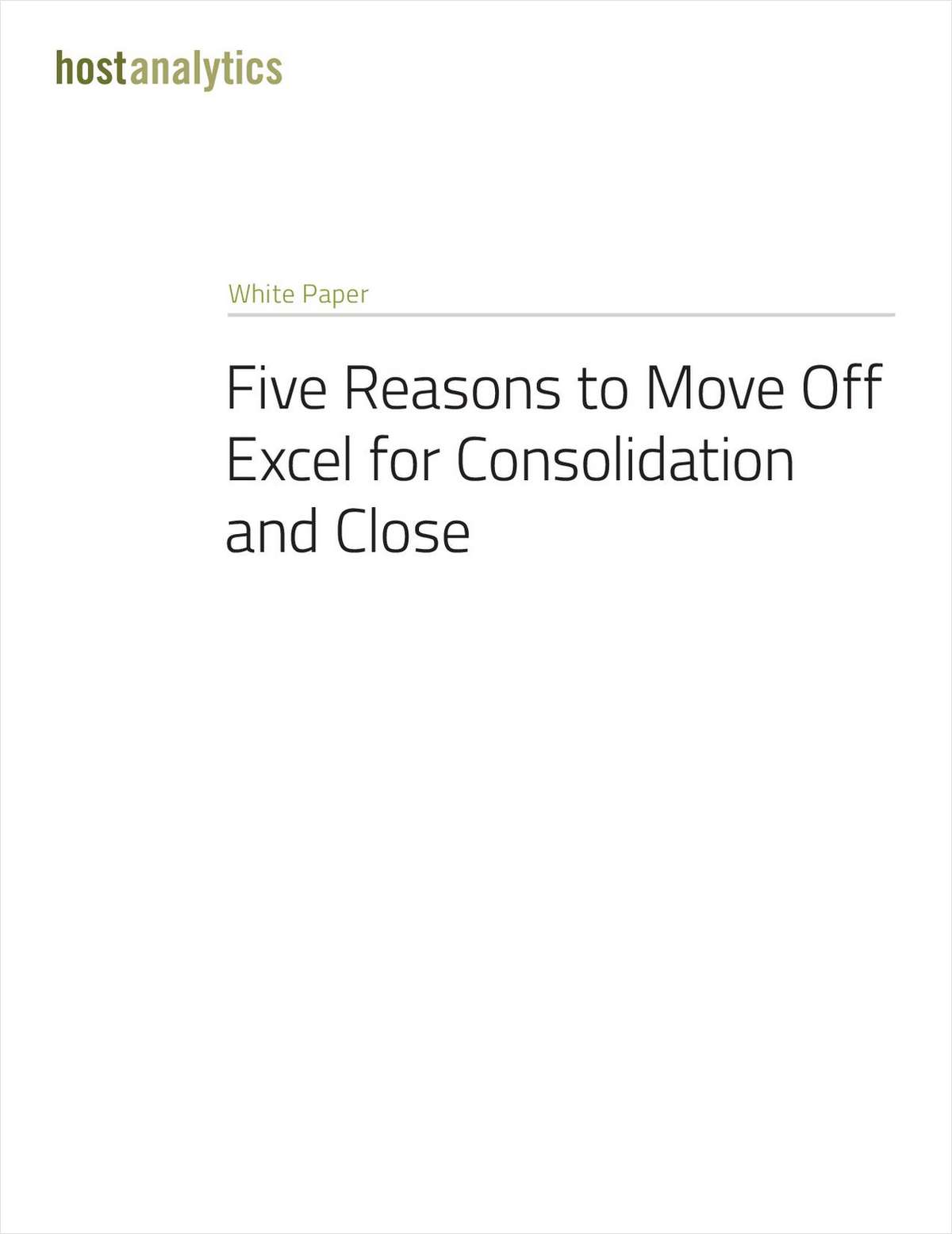 Five Reasons for Moving Off Excel for Consolidation and Close