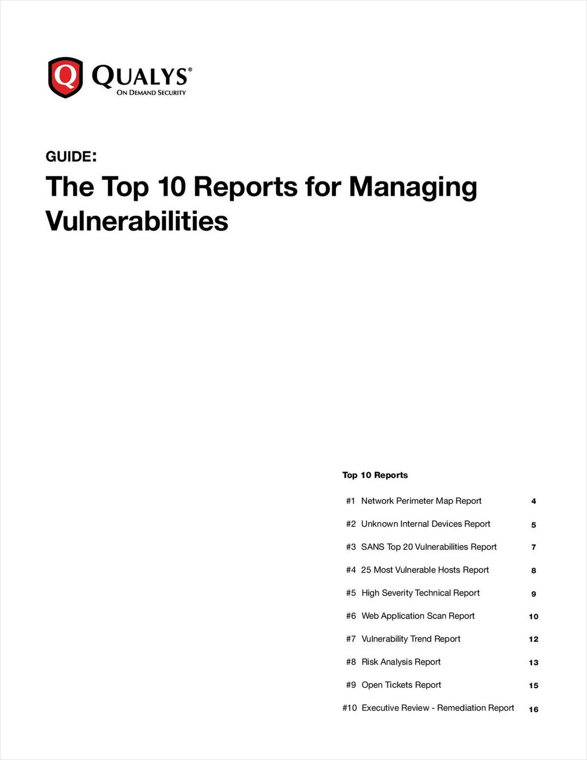 The Top 10 Reports for Managing Vulnerabilities