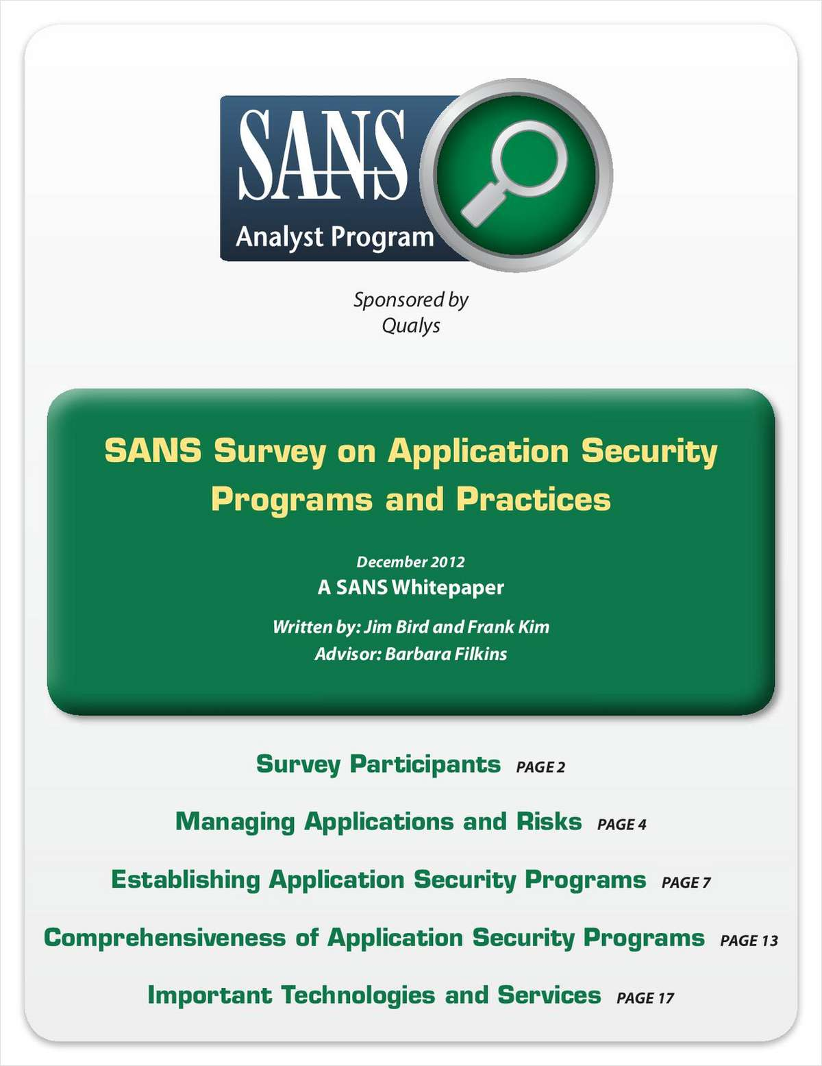 SANS Survey on Application Security Policies in Enterprises