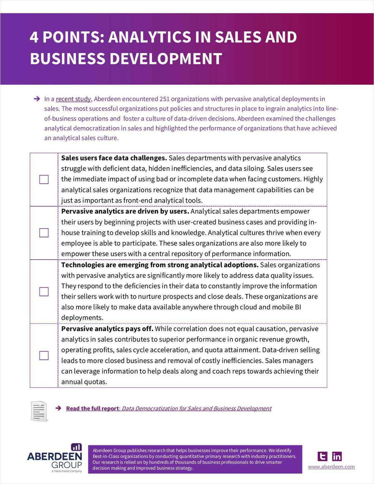 Aberdeen 4 Points: Analytics in Sales and Business Development