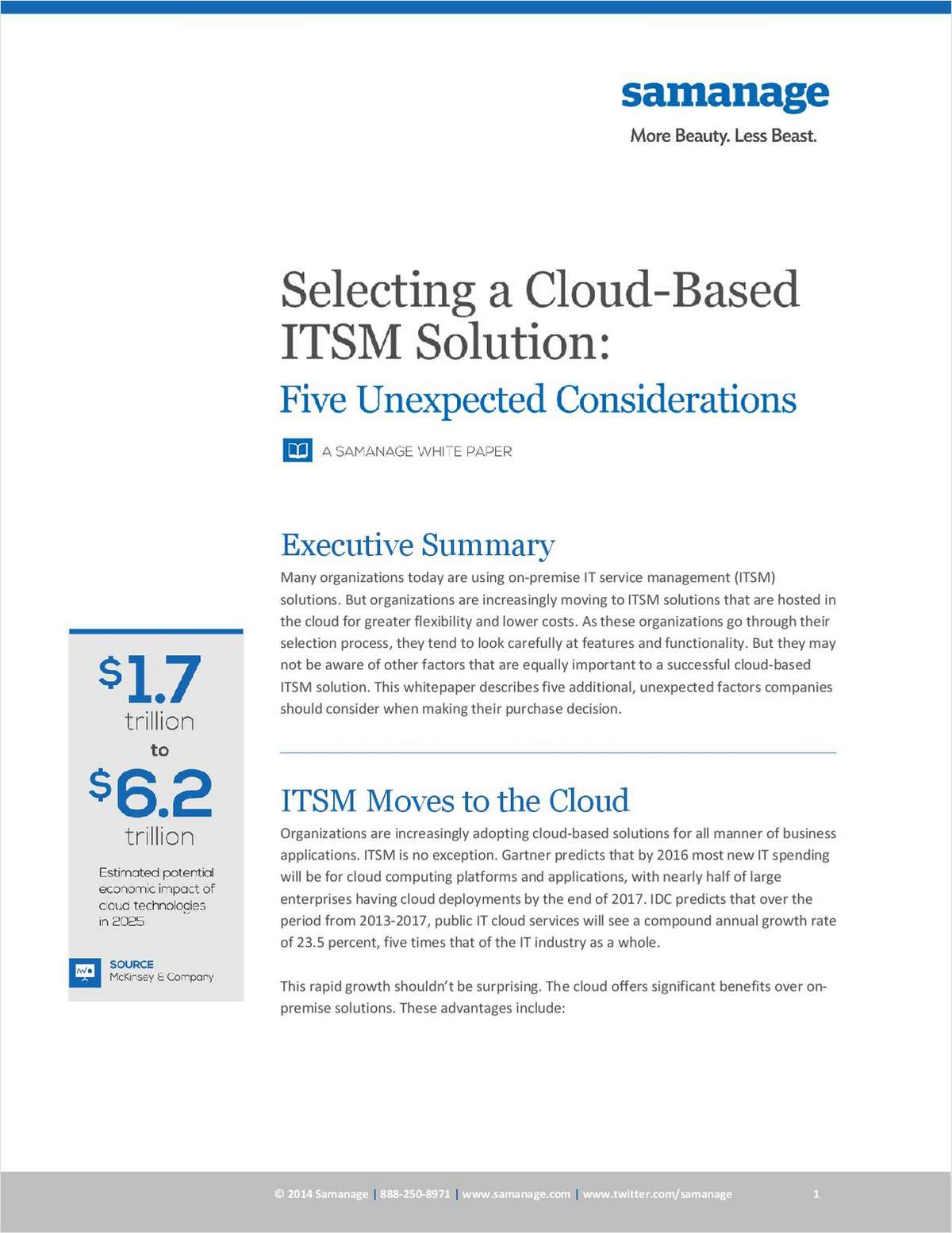 Selecting a Cloud-Based ITSM: Five Unexpected Considerations