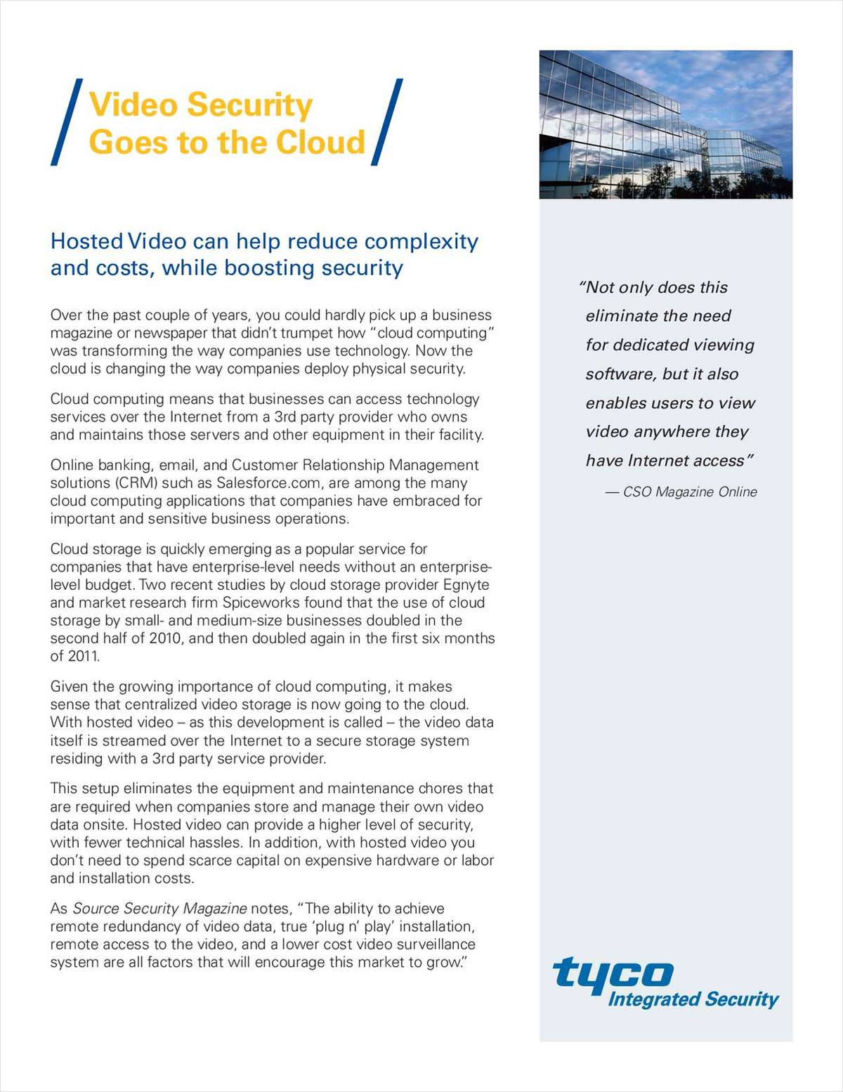 Video Security Goes To The Cloud