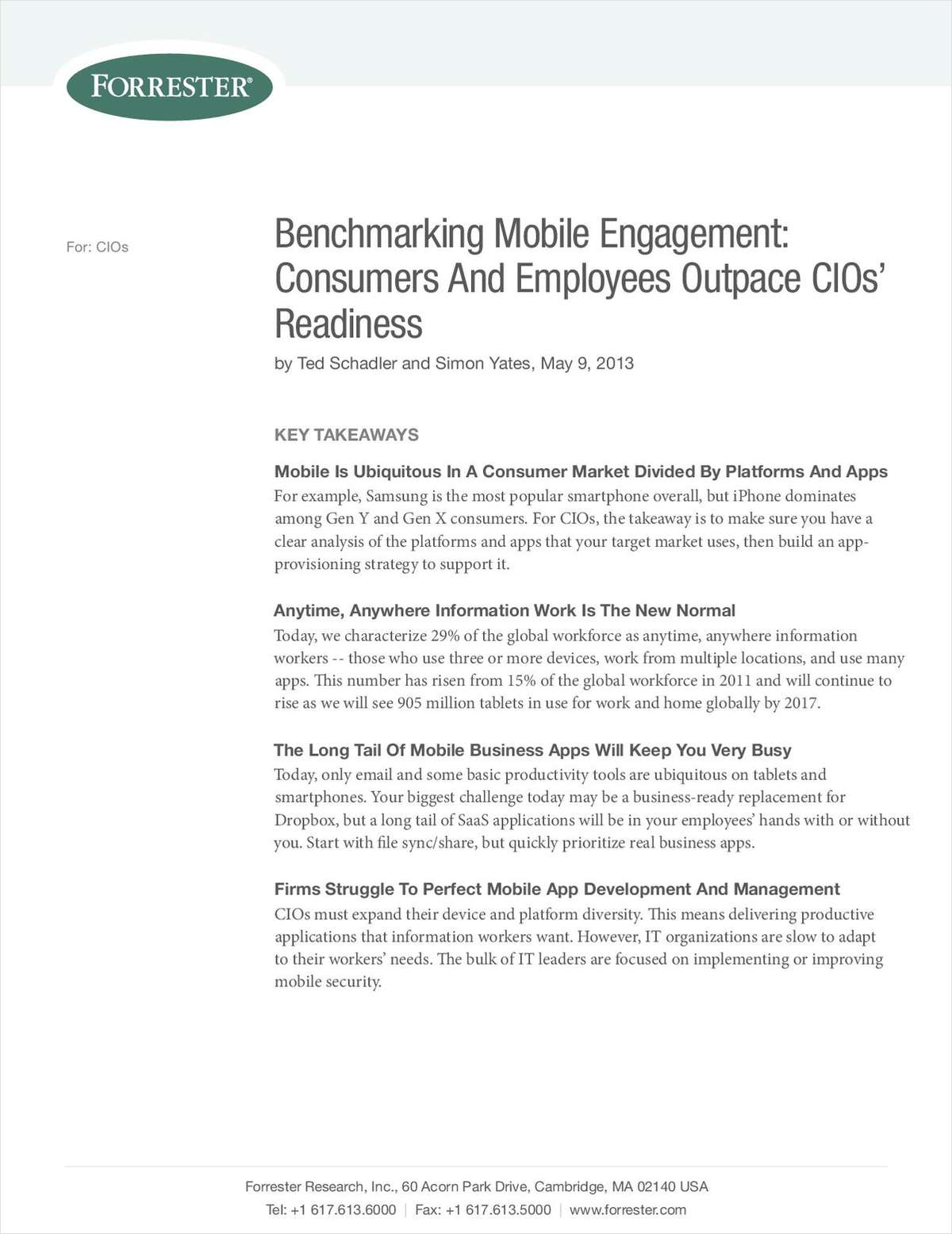Benchmarking Mobile Engagement: Consumers and Employees Outpace CIO's Readiness
