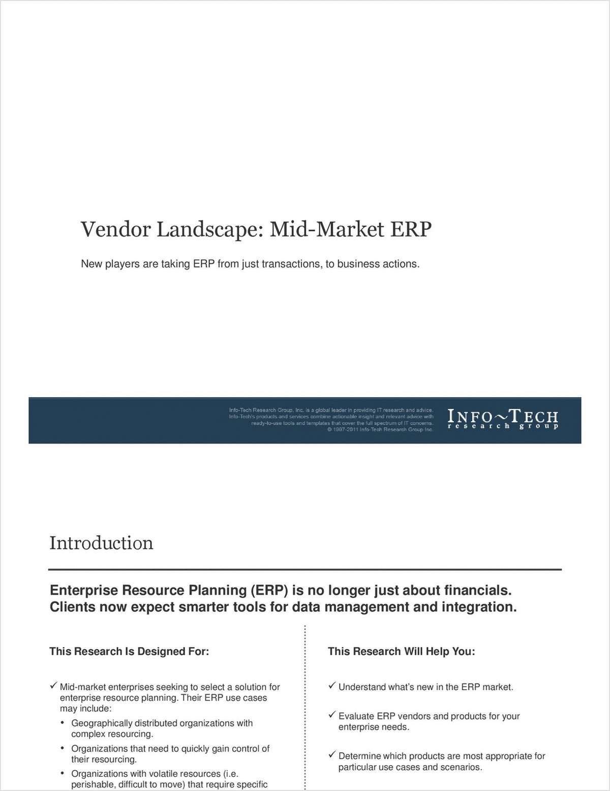Info-Tech Report: Vendor Landscape for Mid-Market ERP
