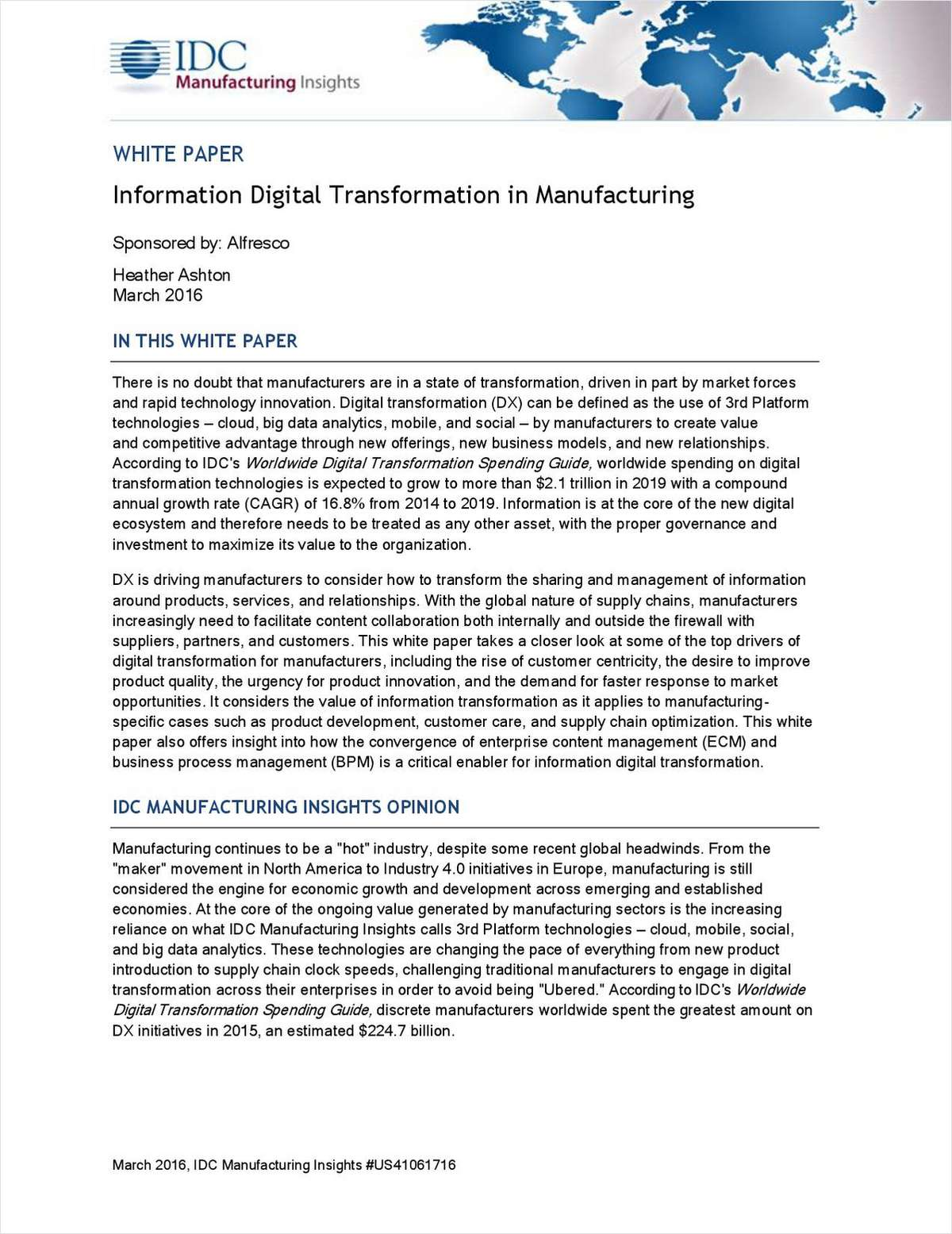 Information Digital Transformation in Manufacturing