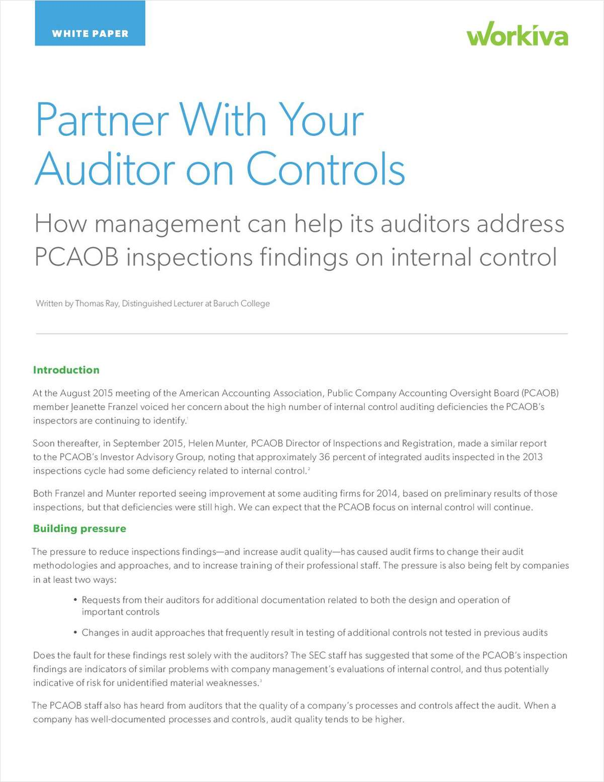How Management Can Help their Auditors Address PCAOB Inspections Findings on Internal Control