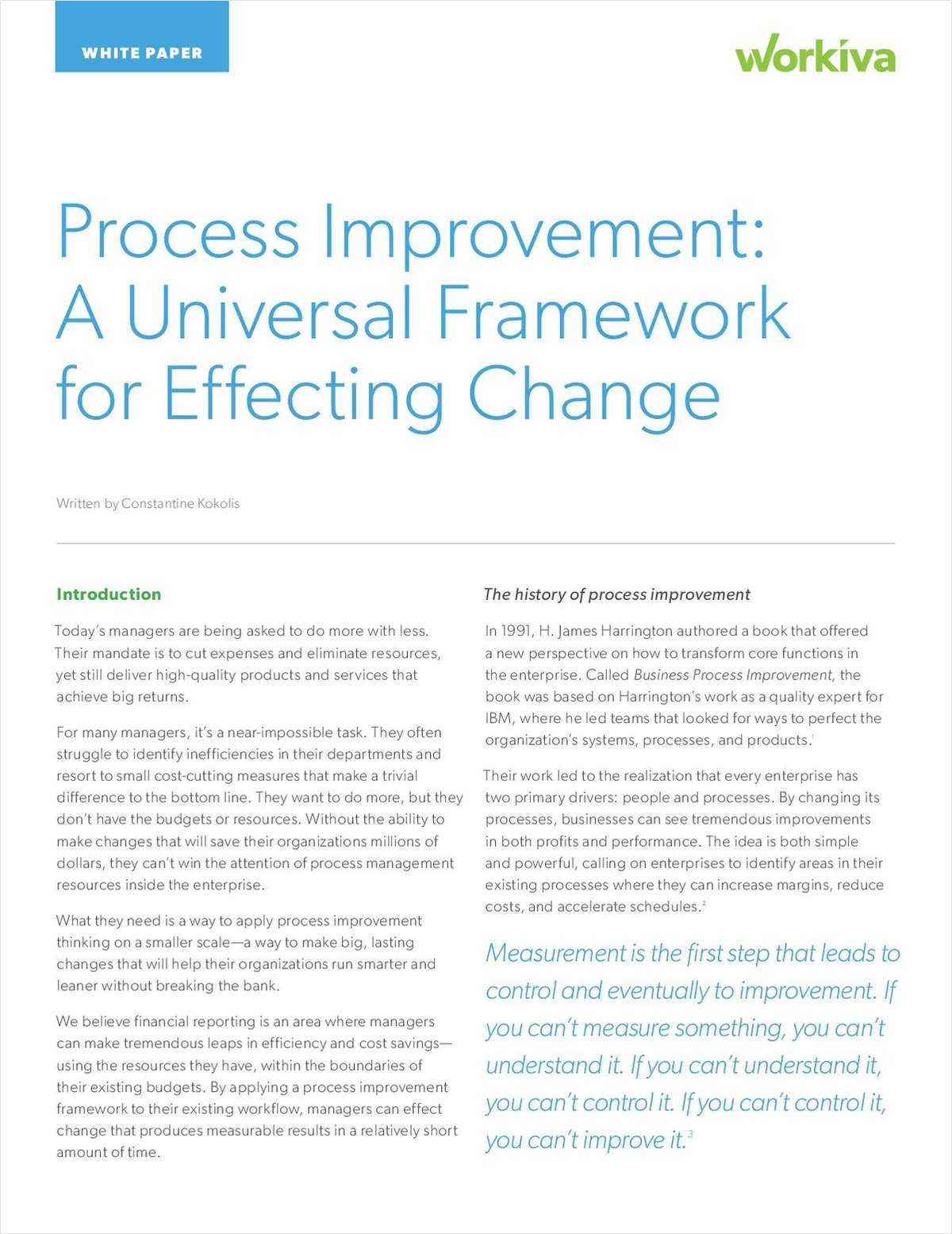 Process Improvement: A Universal Framework and Why It Matters