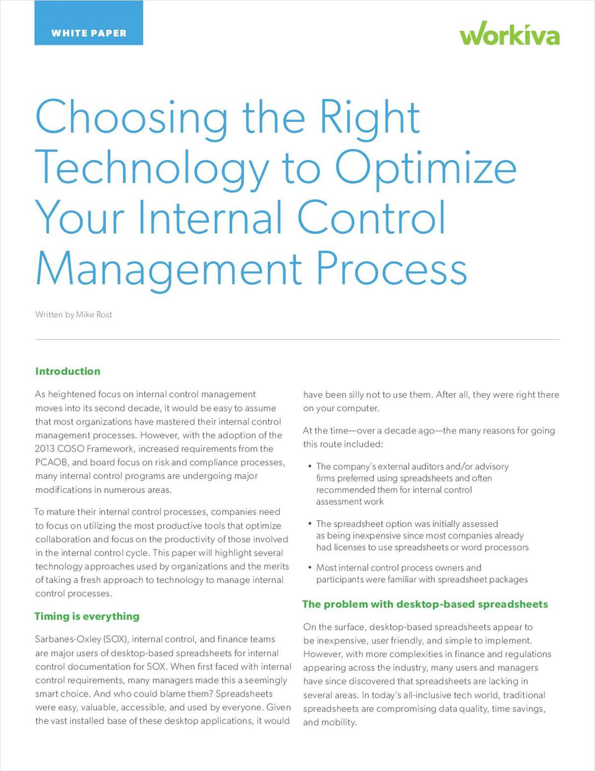 Choosing the Right Technology for Internal Control Management